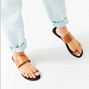 All leather urban outfitters sandals one toe wrap